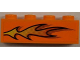 Part No: 3010pb139L  Name: Brick 1 x 4 with Orange Flame Pattern Model Left Side (Sticker) - Set 8186