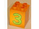 Part No: 31110pb023  Name: Duplo, Brick 2 x 2 x 2 with Number 3 Lime Pattern