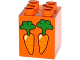 Part No: 31110pb116  Name: Duplo, Brick 2 x 2 x 2 with 2 Carrots Pattern