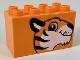 Part No: 31111pb041  Name: Duplo, Brick 2 x 4 x 2 with Tiger Head Pattern