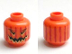 Part No: 3626cpb0388  Name: Minifig, Head Pumpkin Jack O' Lantern with Vertical Lines on Back Pattern - Stud Recessed