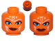 Part No: 3626cpb0841  Name: Minifig, Head Dual Sided Alien with SW Ahsoka, Blue Eyes, Smile / Angry Pattern - Stud Recessed