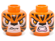 Part No: 3626cpb1142  Name: Minifig, Head Dual Sided Alien Chima Tiger Orange Eyes, Fangs and Black Stripes, Neutral / Angry Pattern (Tormak) - Stud Recessed