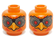 Part No: 3626cpb1206  Name: Minifig, Head Dual Sided Alien Chima Phoenix with Red Eyes and Dark Bluish Gray Goggles, Rounded / Squared Lower Beak Pattern (Firox) - Stud Recessed