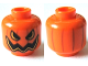 Part No: 3626cpb1522  Name: Minifig, Head Pumpkin Jack O' Lantern Open Semicircular Eyes with Vertical Lines on Back Pattern - Stud Recessed