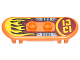 Part No: 42511pb16  Name: Minifig, Utensil Skateboard with Trolley Wheel Holders with Yellow Flames and Silver Foot Plates Pattern (Sticker) - Set 70592