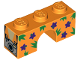 Part No: 4490pb12  Name: Brick, Arch 1 x 3 with Dark Purple Flowers, Green Spikes and Silver Camera Pattern