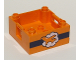 Part No: 47423pb11  Name: Duplo Container Box 4 x 4 with Studs on Corners with Orange Airplane on White Cloud and Dark Blue Stripe Pattern