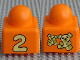 Part No: 49256px6  Name: Primo Brick 1 x 1 with Number 2 and Teddy Bears Pattern on Opposite Sides