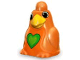 Part No: 49843pb01  Name: Primo Animal Bird Large with Stud on Top of Head and Green Heart Pattern