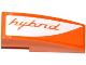 Part No: 50950pb085L  Name: Slope, Curved 3 x 1 No Studs with Orange 'hybrid' on White Background Pattern Model Left Side (Sticker) - Set 75912