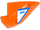 Part No: 87616pb004  Name: Aircraft Fuselage Curved Aft Section 6 x 10 Bottom with Blue Line and '60015' on White Background Pattern on Both Sides (Stickers) - Set 60015