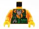 Part No: 973pb0090c01  Name: Torso Rock Raiders Shirt, Green Vest, Wrench and Pockets Pattern (Sparks) / Orange Arms / Yellow Hands