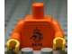 Part No: 973pb0770c01  Name: Torso Soccer Dutch National Player, KNVB Logo Sticker Front, Black/White Number Sticker Back (specify number in listing) / Orange Arms / Yellow Hands