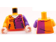 Part No: 973pb1007c01  Name: Torso Batman Jacket with Dark Purple Half Panel, Pockets and Zippers Pattern / Dark Purple Arm Left / Orange Arm Right / Light Flesh Hands