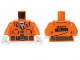 Part No: 973pb1463c01  Name: Torso Batman Prisoner Jumpsuit with Belt and Pockets and 'INMATE 109370' on Reverse Pattern / Orange Arms / White Hands