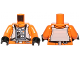 Part No: 973pb1588c01  Name: Torso SW Rebel Pilot with Black Belt with Buckle on Back Pattern / Orange Arms / Black Hands
