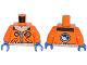 Part No: 973pb1683c01  Name: Torso Arctic Explorer Logo with Zipper and White Fur Trim Pattern / Orange Arms / Blue Hands
