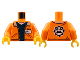 Part No: 973pb2920c01  Name: Torso Town Jacket with Pockets Over Dark Blue Shirt with Name Tag and Miners Logo on Back Pattern / Orange Arms / Yellow Hands