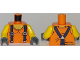 Part No: 973pb2922c01  Name: Torso Town Miners with Sleeveless T-Shirt over Muscles with Dark Blue Suspender Straps Pattern / Yellow Arms / Dark Bluish Gray Hands