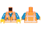 Part No: 973pb3370c01  Name: Torso Safety Vest with Reflective Worn Crossed Stripes over Blue Shirt Pattern / Blue Arms / Yellow Hands