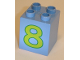 Part No: 31110pb028  Name: Duplo, Brick 2 x 2 x 2 with Number 8 Lime Pattern