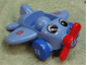 Part No: 31639c02pb01  Name: Primo Vehicle Airplane - Red Propeller, Blue Wheels, with Eyes and Wing Logo Pattern