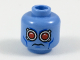Part No: 3626cpb1742  Name: Minifig, Head Alien with Red Eyes, Silver Goggles and Blue Cheek Lines Pattern (Mr. Freeze) - Stud Recessed