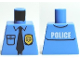 Part No: 973pb0801  Name: Torso Police Shirt with Gold Badge, Dark Blue Tie and 'POLICE' Pattern on Back