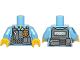 Part No: 973pb1260c01  Name: Torso Police Shirt with Dark Bluish Gray Vest, Gold Badge, Zipper and White 'POLICE' Pattern on Back / Medium Blue Arm Left / Medium Blue Arm Right with Star Badge Pattern / Yellow Hands