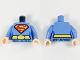 Part No: 973pb2965c01  Name: Torso Shirt with Female Outline, Belt with Oval Buckle and Red and Yellow Superman 'S' Logo Pattern / Medium Blue Arms / Light Flesh Hands