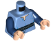 Part No: 973pb3146c01  Name: Torso Tunic with Belt with Blue Wrinkles Pattern / Dark Blue Arms / Light Flesh Hands