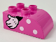 Part No: 2302pb16L  Name: Duplo, Brick 2 x 3 with Curved Top with White Polka Dots and Left Minnie Mouse Hand Pattern