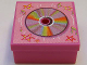 Part No: 33031pb12  Name: Container, Box 3.5 x 3.5 x 1.3 with Hinged Lid with CD and Stars Pattern (Sticker) - Set 3142