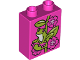 Part No: 76371pb047  Name: Duplo, Brick 1 x 2 x 2 with Bottom Tube with Frog and Flowers Pattern (10804)