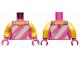 Part No: 973pb3443c01  Name: Torso Female Tank Top, Light Bluish Gray Straps and 3 Diagonal Stripes, Silver Stars Pattern / Yellow Arms / Dark Pink Hands