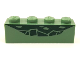 Part No: 3010pb230  Name: Brick 1 x 4 with Dark Green Reptile Scale Pattern