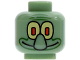Part No: 3626bpb0040  Name: Minifigure, Head Alien with Large Nose and Yellow Eye / White Eye Pattern (Squidward) - Blocked Open Stud