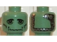 Part No: 3626bpb0042  Name: Minifigure, Head Alien with Frankenstein Monster Pattern - Blocked Open Stud