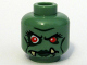 Part No: 3626bpb0370  Name: Minifigure, Head Alien with Red Eyes, Dark Green Lips and Lower Fangs Pattern - Blocked Open Stud