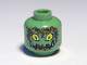 Part No: 3626bpb0375  Name: Minifigure, Head Alien with Yellow Eyes, Pointed Teeth and Bubbles Pattern - Blocked Open Stud