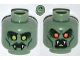 Part No: 3626bpb0919  Name: Minifigure, Head Dual Sided Alien with Yellow Eyes, Fangs, Green Lips, Cheek Lines  / Open Mouth with Red Eyes Pattern - Blocked Open Stud