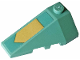Part No: 43710pb16  Name: Wedge 4 x 2 Triple Left with Gold Arrow on a Sand Green Background Pattern (Sticker) - Set 70612