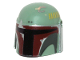 Part No: 87610pb01  Name: Minifigure, Headgear Helmet with Holes, SW Mandalorian with Dark Brown and Silver Pattern
