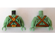 Part No: 973pb0700c01  Name: Torso Alien with Muscles Outline, Scales, Belts and Medallion Pattern / Sand Green Arms / Sand Green Hands