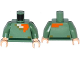 Part No: 973pb2186c01  Name: Torso Pixelated Light Flesh, Dark Tan and Orange Neck, Dark Green Belt Pattern (Minecraft) / Sand Green Arms / Light Flesh Hands