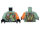 Part No: 973pb2507c01  Name: Torso Olive Green, Orange and Silver Mechanical Pack and Body Armor Pattern / Sand Green Arm Right / Orange Arm Left / Black Hands