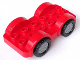 Part No: 11841c01  Name: Duplo Car Base 2 x 6 with Four Black Tires and Flat Silver Wheels on Fixed Axles