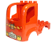 Part No: 15454pb02  Name: Duplo Car Body Truck 4 x 4 Flatbed with 4 Top Studs, Headlights and Fire Logo Pattern