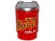 Part No: 15496pb03  Name: Minifigure, Utensil Cup, Take Out Cup with Metallic Silver Lid and 'BUZZ COLA' Pattern